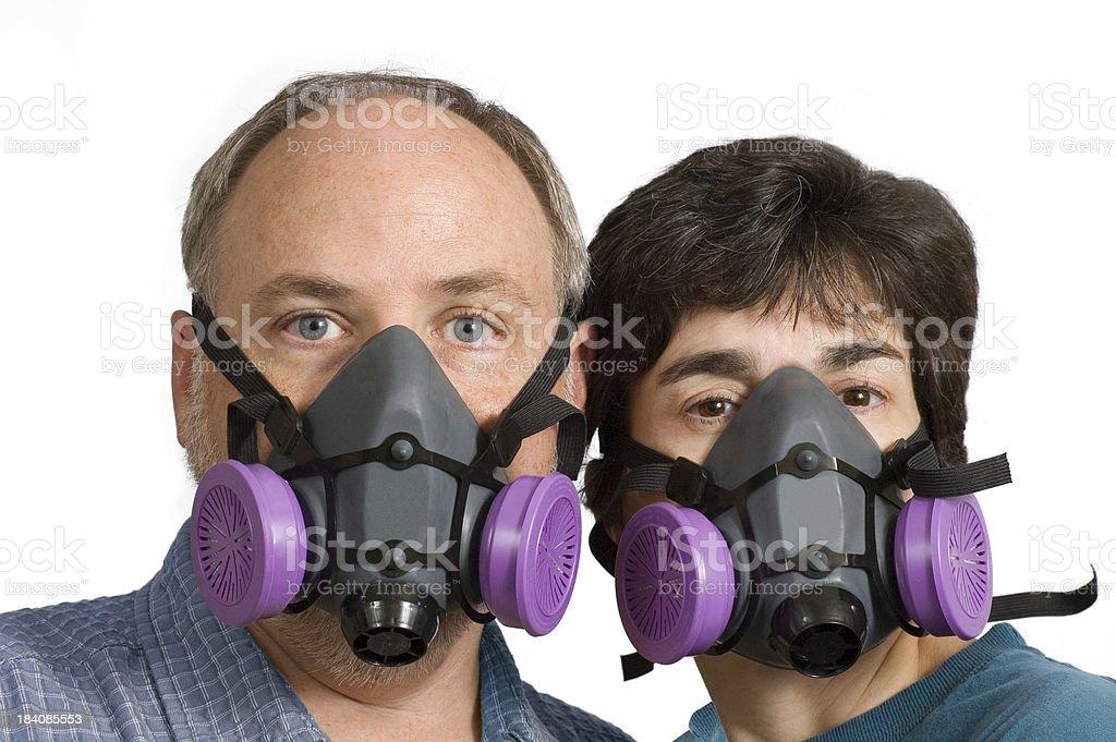 Couple Wearing Respiratory Masks stock photo