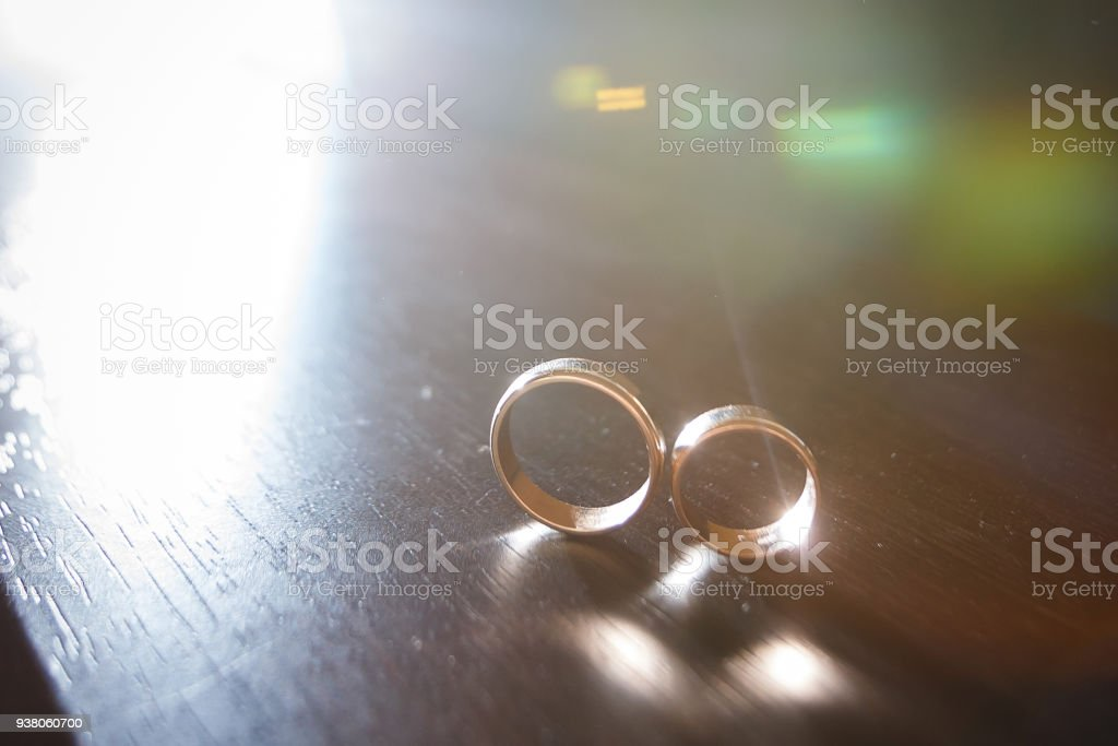 Couple Wedding Rings On Old Wood Texture Stock Photo More Pictures