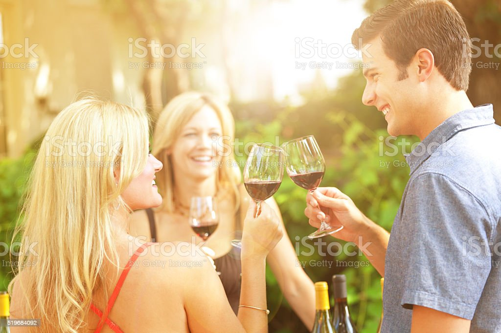 Couple Winetasting, Tasting Wine Country Winery Bottles Selection by Vineyard stock photo