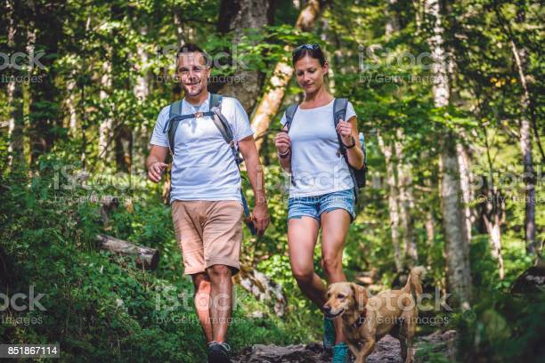 Couple with a dog hiking in forest picture id851867114?b=1&k=6&m=851867114&s=612x612&h=i8zcakxsw1j9tvu8cremhzogjsqiaq4p9mdfudndxwe=