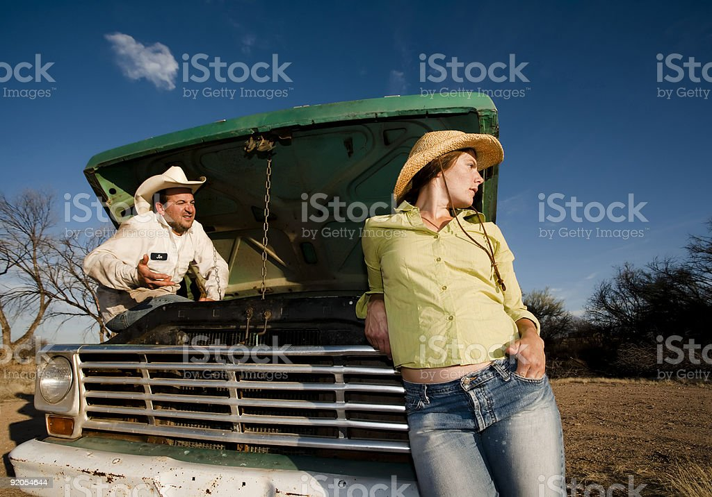 Couple with a Pickup Truck royalty-free stock photo