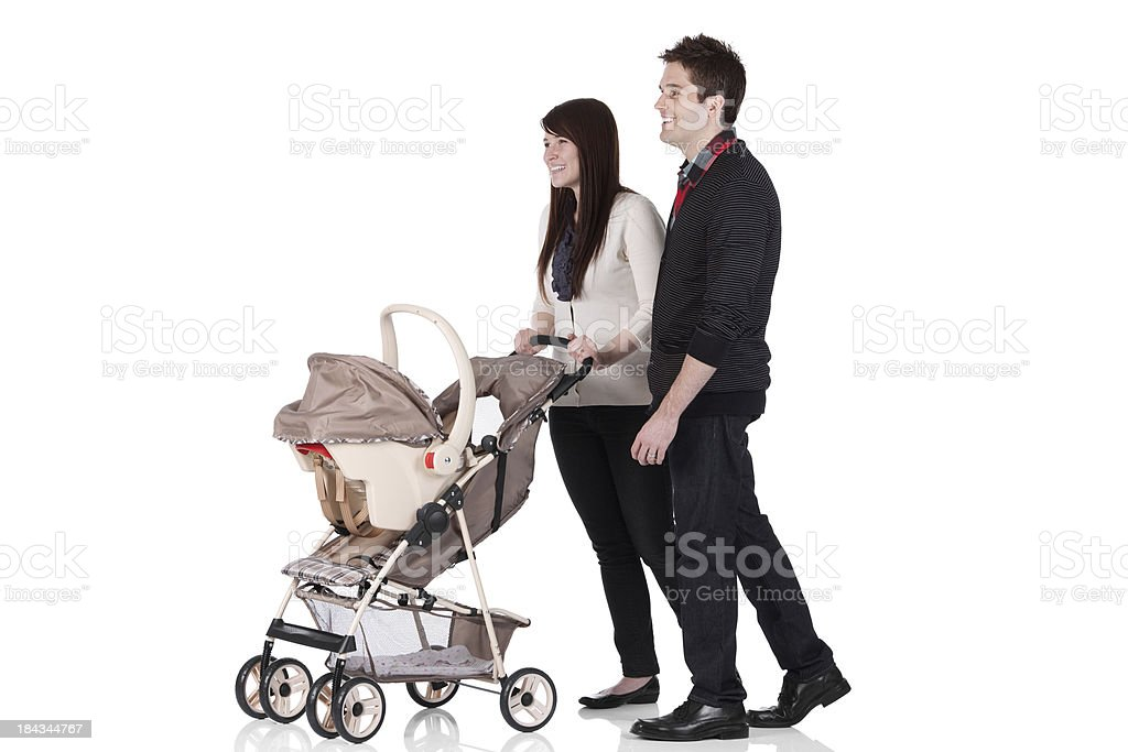 Couple with a pram stock photo