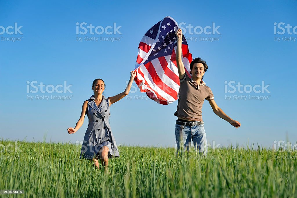 Couple with American Flag stock photo
