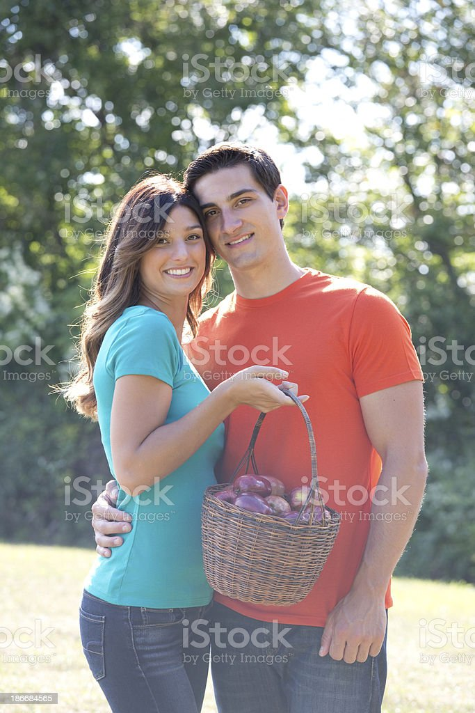 couple with apples royalty-free stock photo