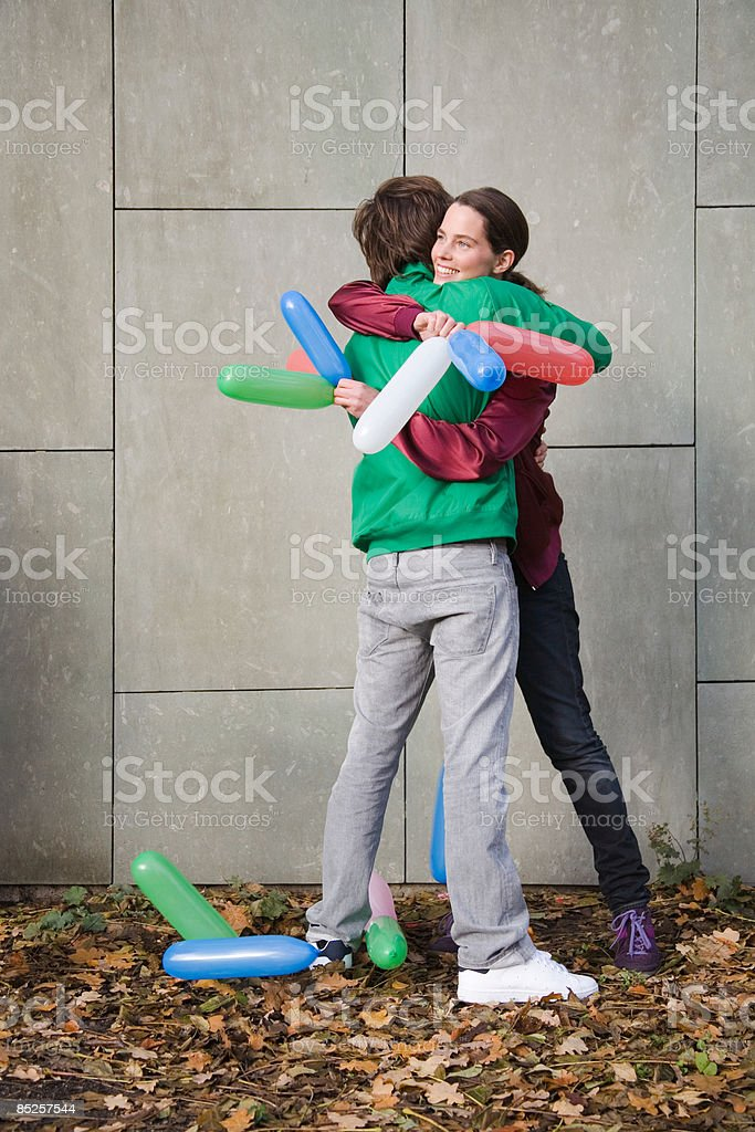 Couple with balloons royalty-free stock photo