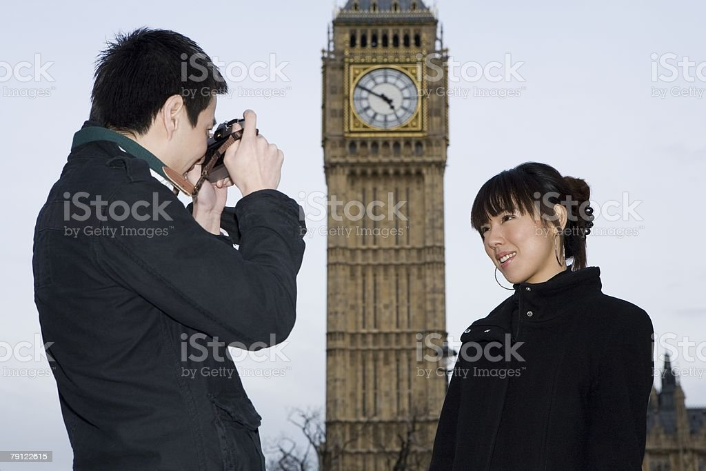 Couple with camera by big ben 免版稅 stock photo