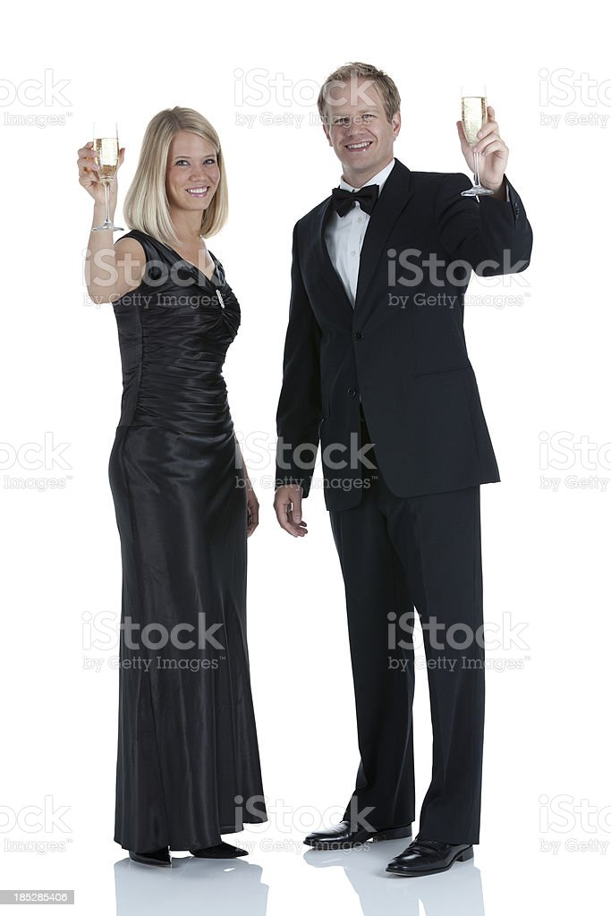 Couple with champagne flutes royalty-free stock photo