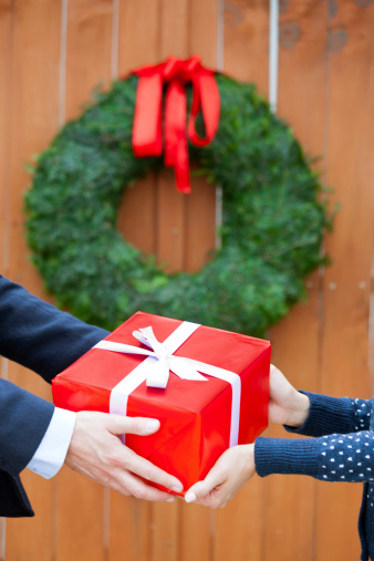 Couple With Christmas Gift Stock Photo - Download Image Now