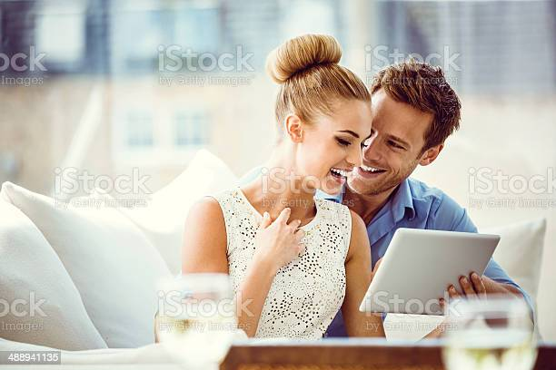 Couple With Digital Tablet Stock Photo - Download Image Now