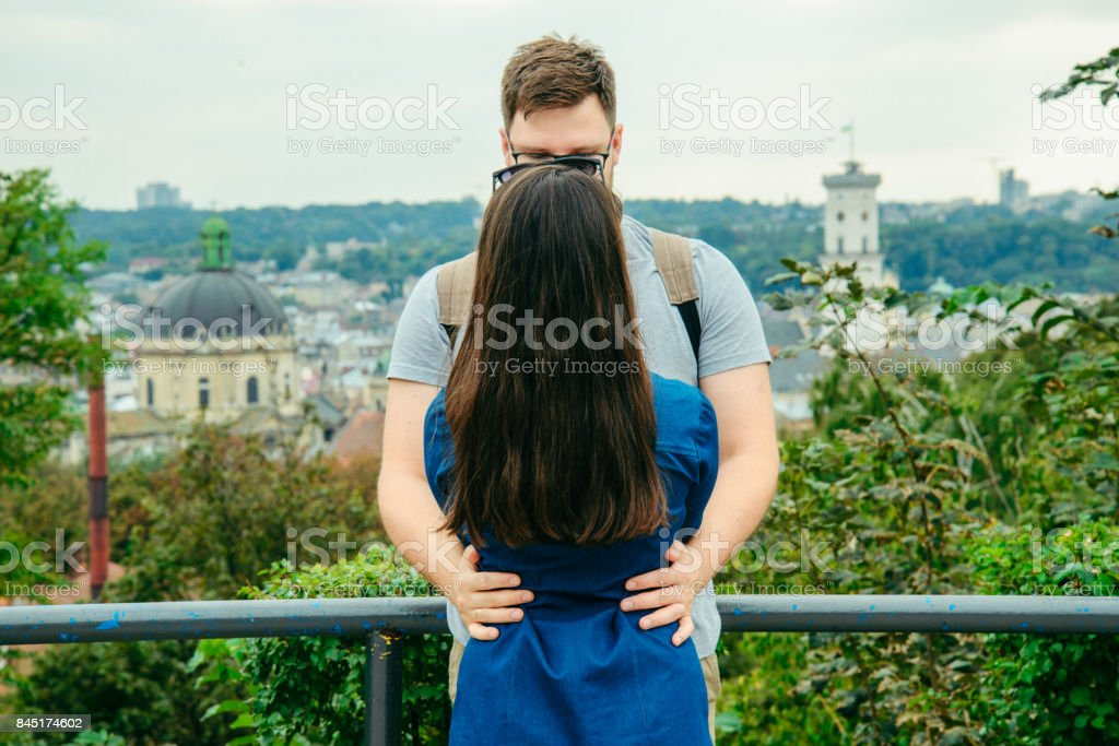 couple with european city on background stock photo