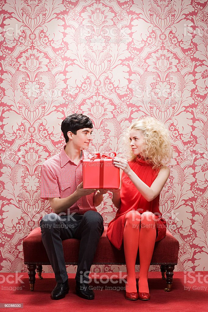 Couple with gift stock photo