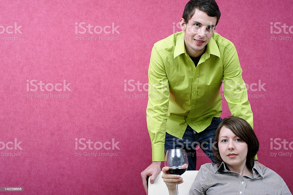 Couple With Glas Of Wine royalty-free stock photo