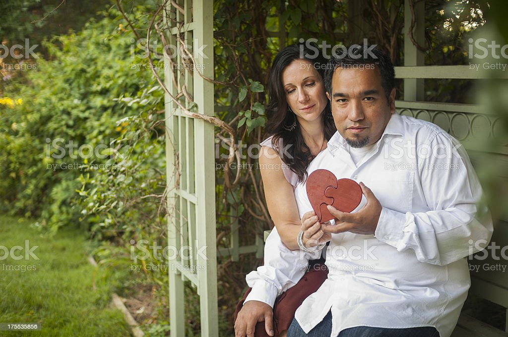 Couple with Heart in Arbor royalty-free stock photo