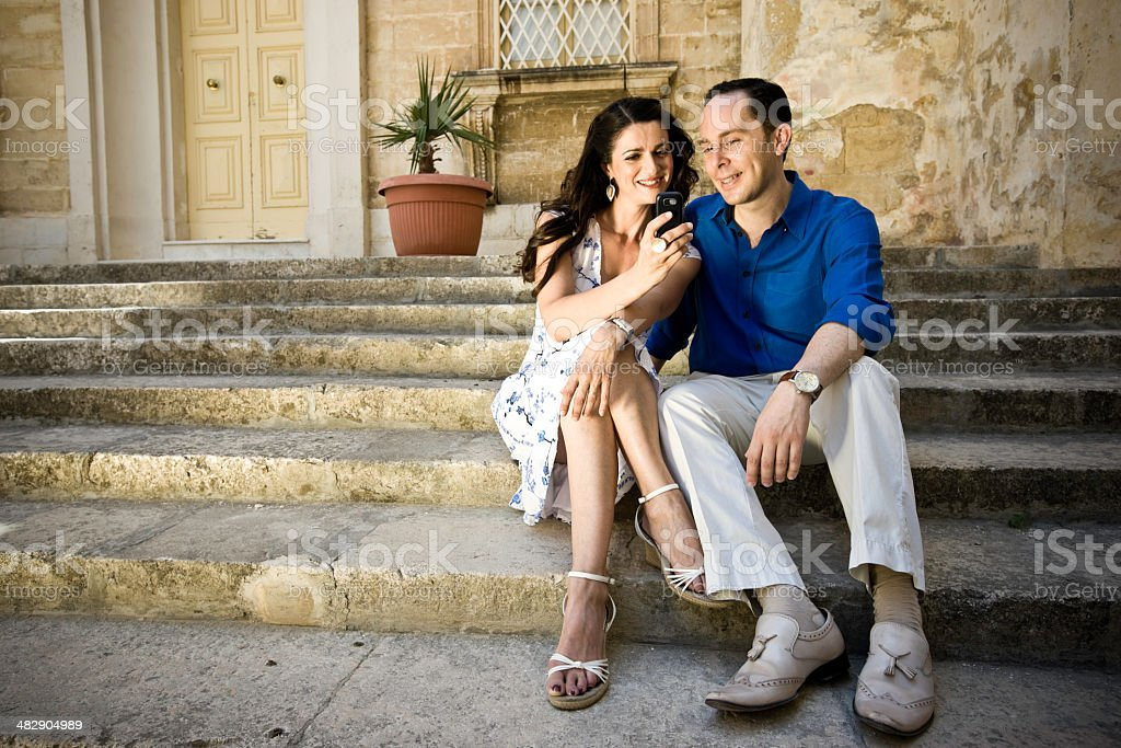 Couple with Mobile Phone royalty-free stock photo