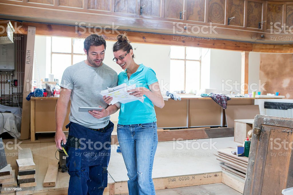Couple With New Home Plans stock photo