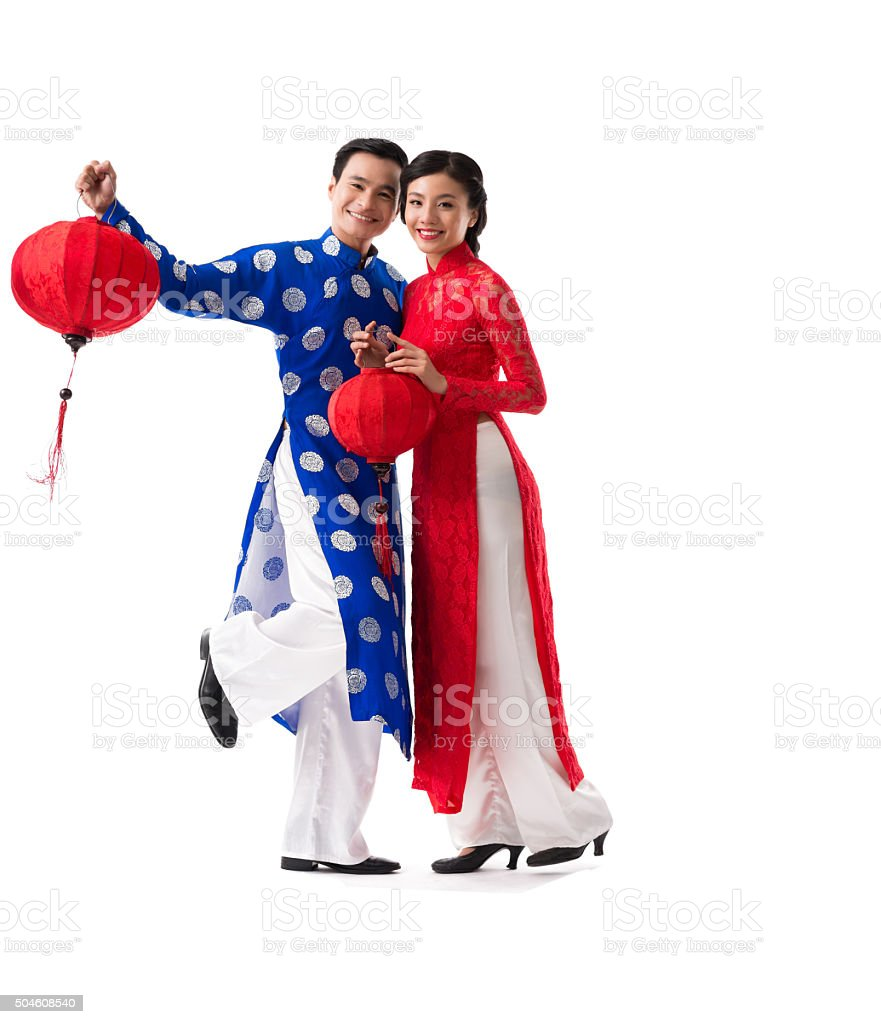 Couple with paper lanterns stock photo