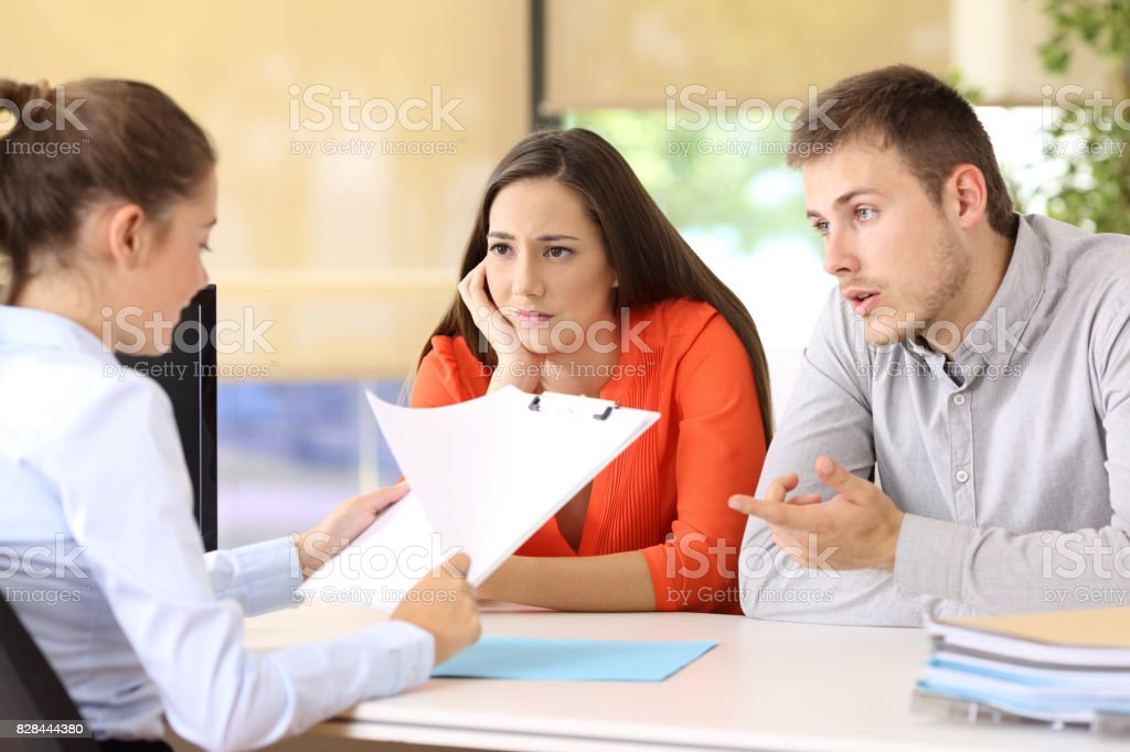 Couple with problems in a marriage counseling stock photo