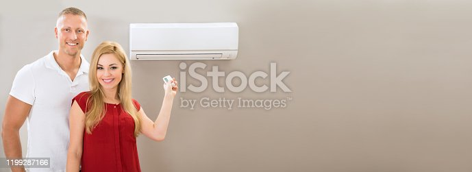 istock Couple With Remote Control Air Conditioner 1199287166