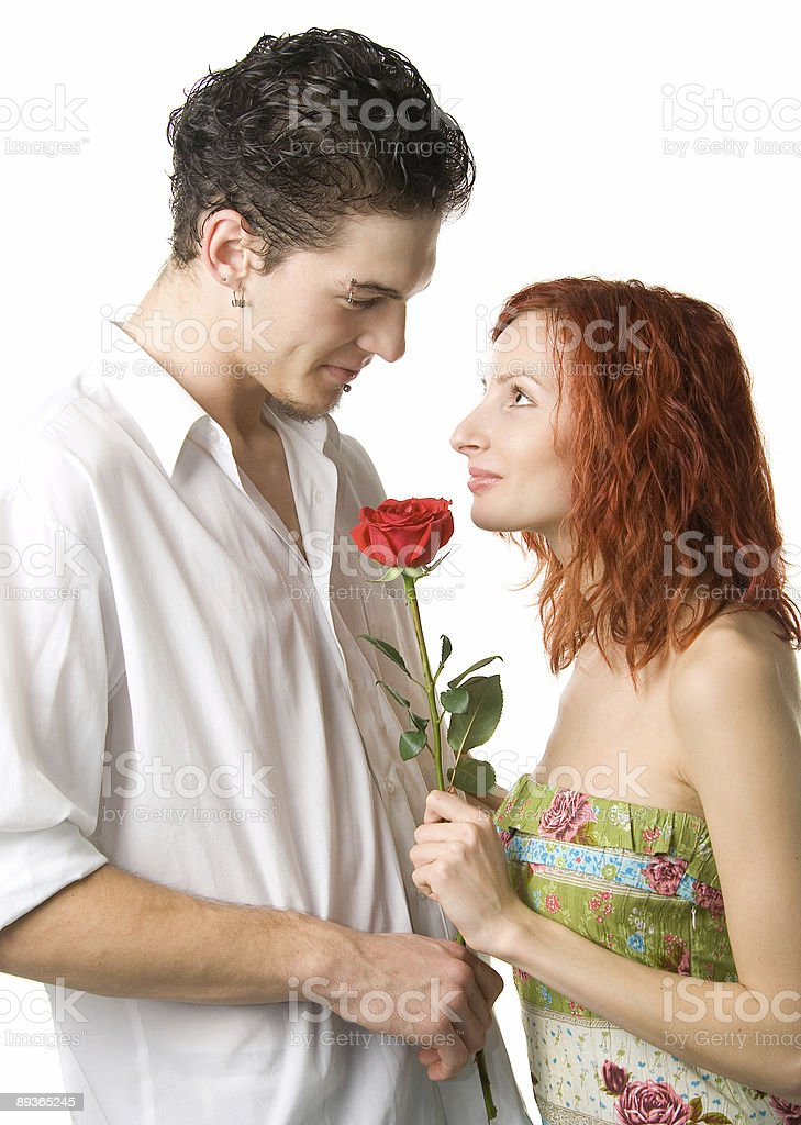 Couple with rose royalty-free stock photo