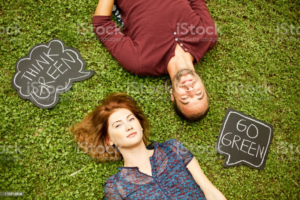 Couple with speech bubbles royalty-free stock photo