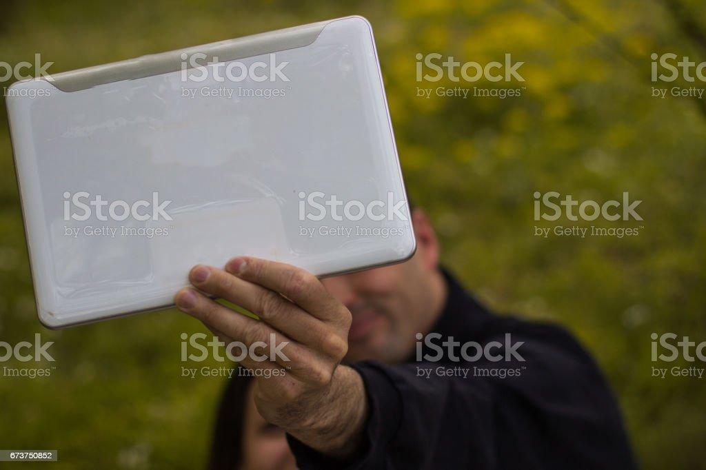 Couple avec tablette photo libre de droits