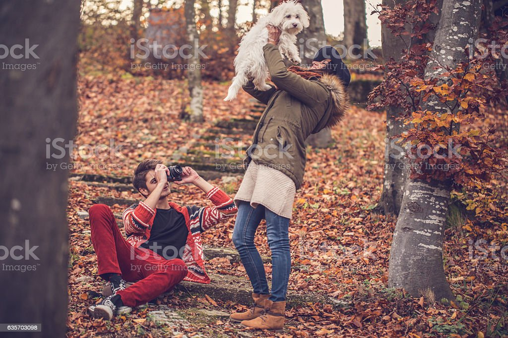 Couple with their dog royalty-free stock photo