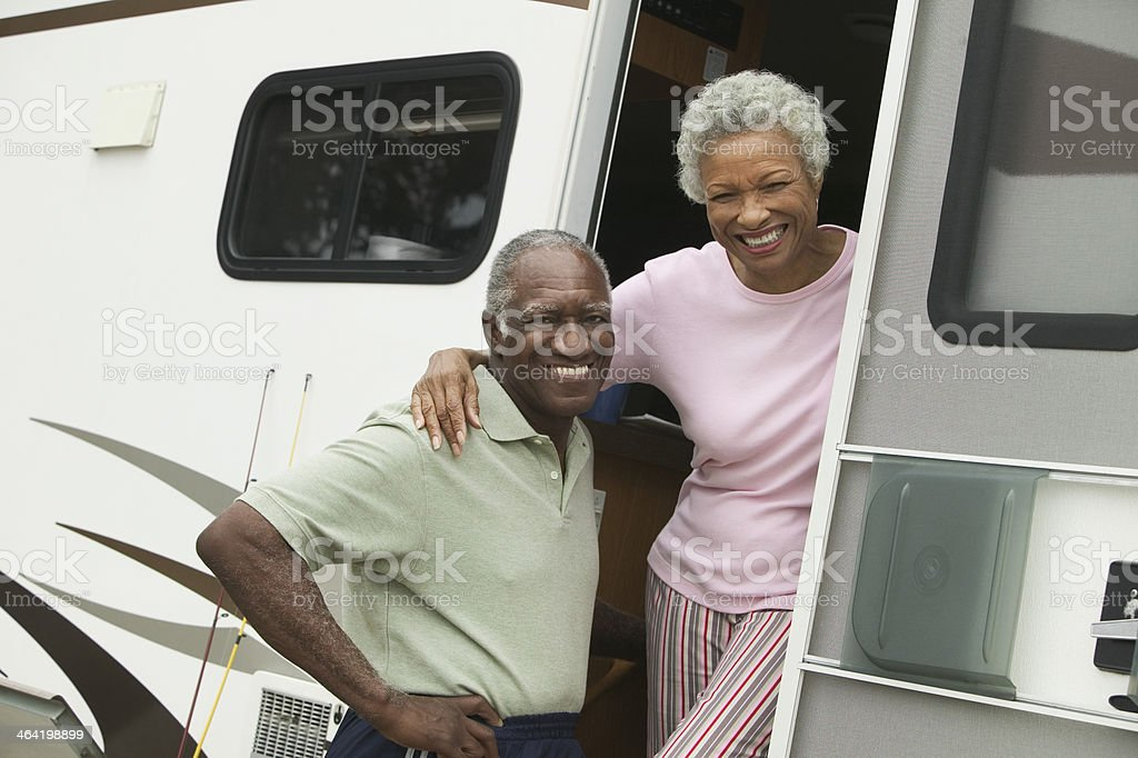 Couple with Their RV stock photo