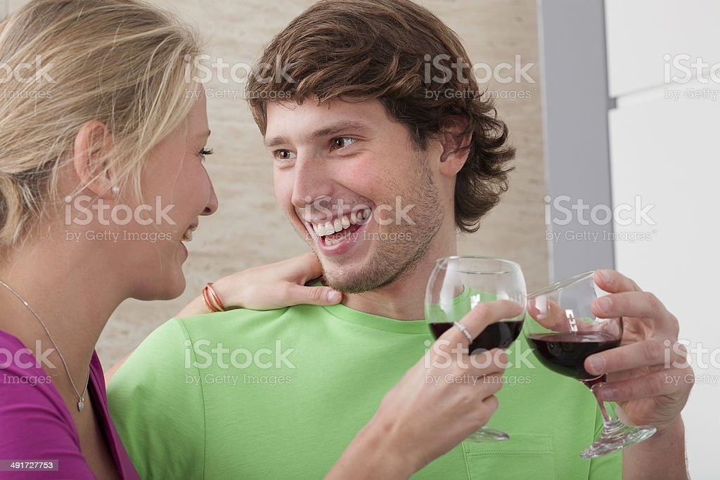 Couple with wine royalty-free stock photo
