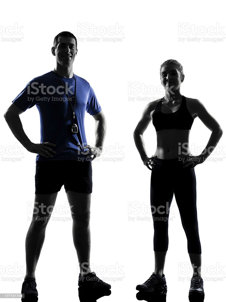 couple woman man exercising workout aerobic instructor stock photo