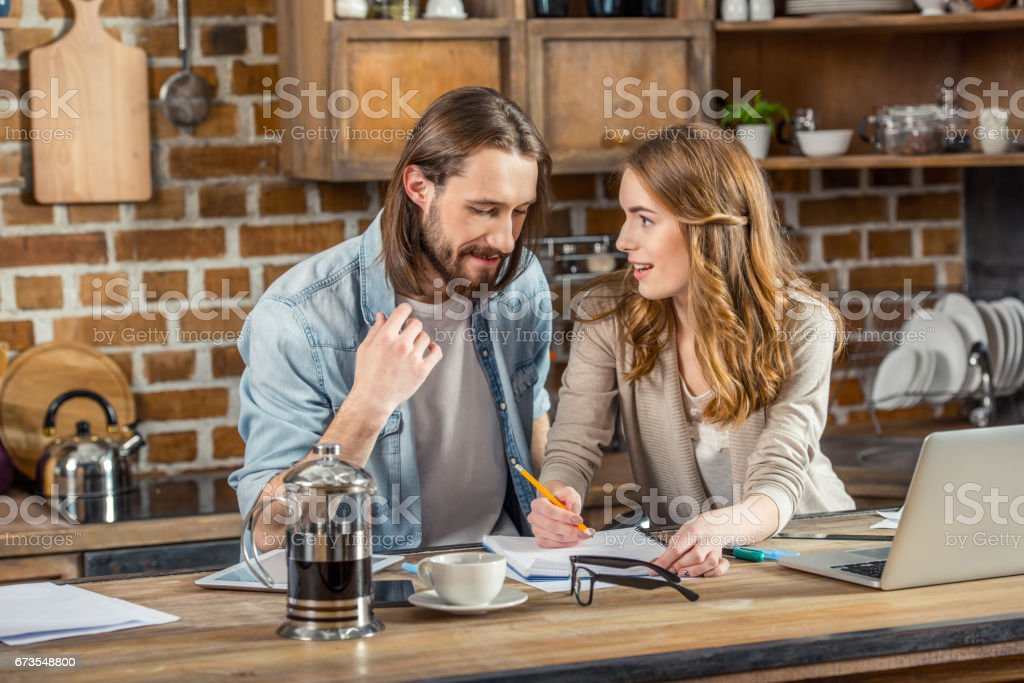 Couple working at home royalty-free stock photo