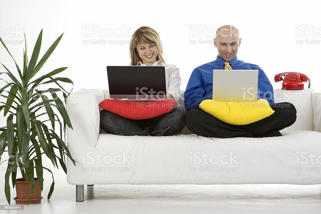 Couple Working on Laptops royalty-free stock photo
