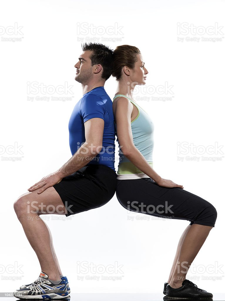 couple workout posture exercise man and woman body building royalty-free stock photo