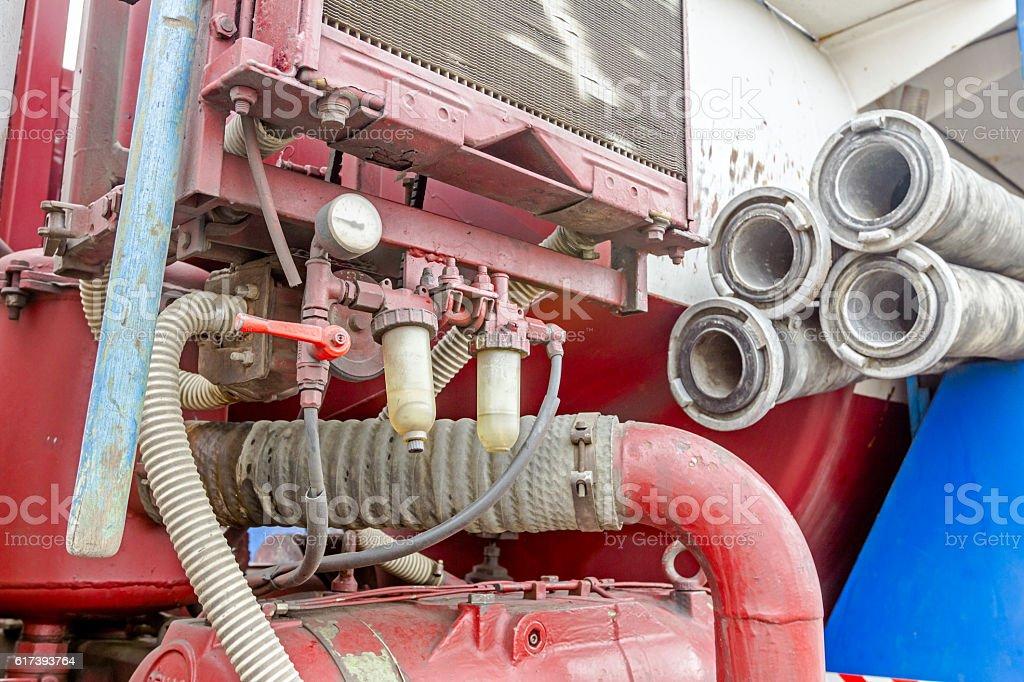 Coupler on corrugated suction hose stock photo
