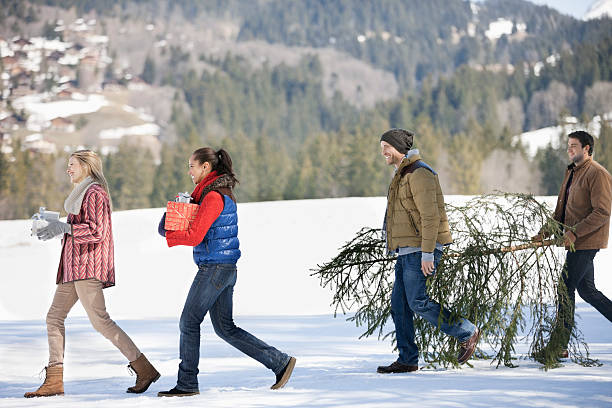 Couples and dog carrying fresh cut christmas tree and gifts in snow picture id151812472?b=1&k=6&m=151812472&s=612x612&w=0&h=ogpxnjnlj 7i7yr6kadhrq k4vdnamgpmwziqsmrpjs=