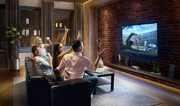 Couples cheering and watching soccer game on TV ストックフォト