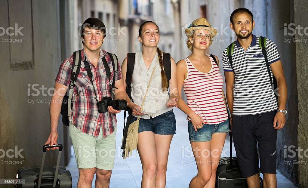couples  during city walking stock photo