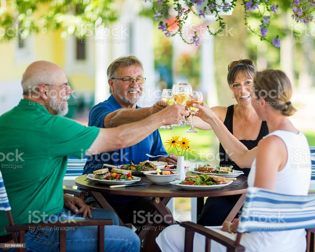 Couples Having Lunch stock photo
