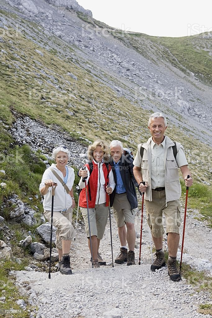 Couples hiking royalty-free stock photo