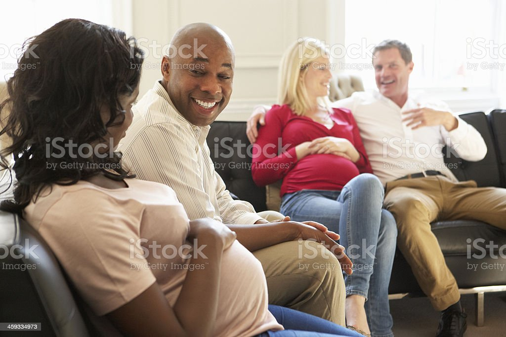 Couples In Waiting Room Of Ante Natal Clinic stock photo