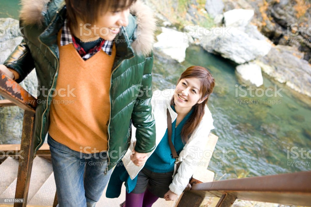 Couples Kawabe stairs to climb royalty-free stock photo