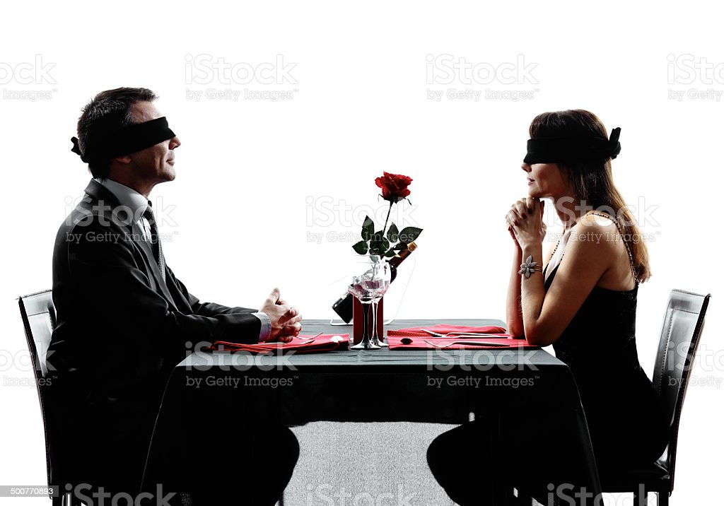 couples lovers blind date dating dinner silhouettes stock photo
