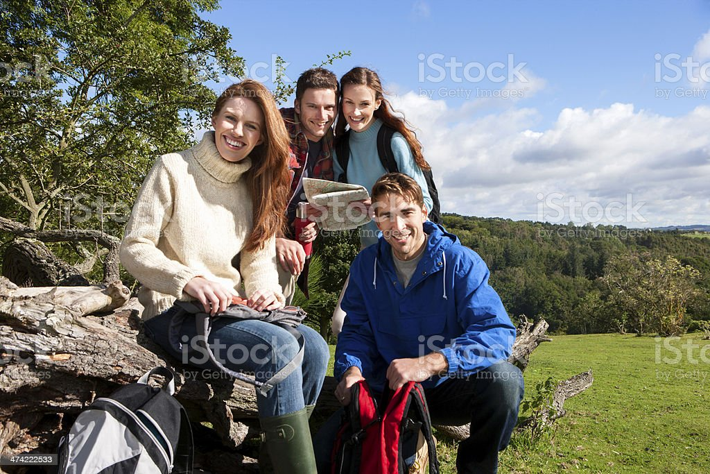 Couples Resting While Hiking royalty-free stock photo