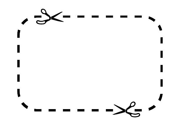 coupon border on white - dotted line stock photos and pictures