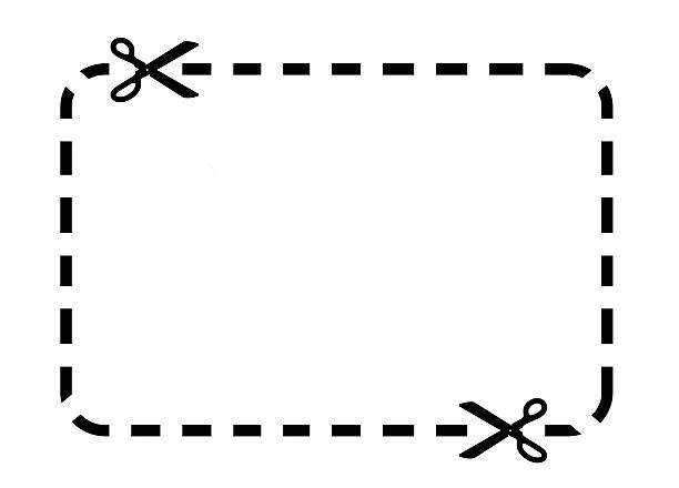 coupon border - dotted line stock photos and pictures