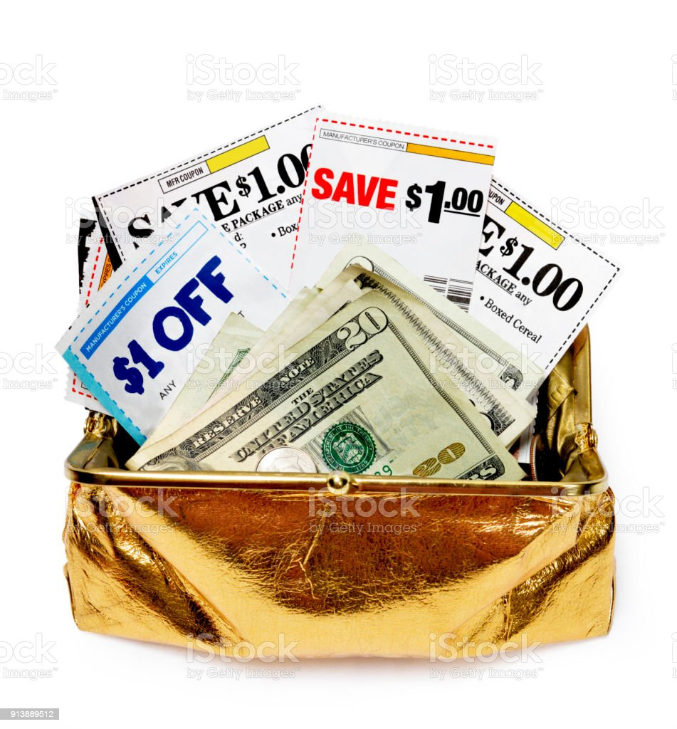 Coupons and Cash in Gold Coin Purse Revised stock photo