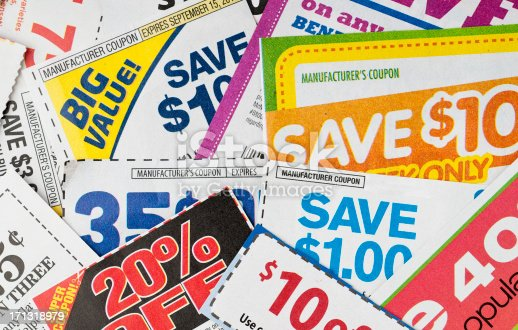 Large stack of money saving coupons.