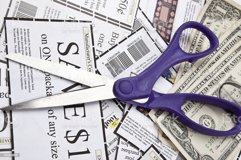 Coupons Scissors And Cash stock photo