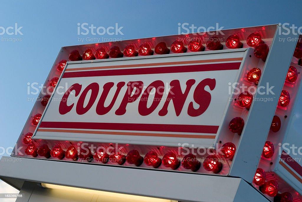 Coupons Sign at Carnival stock photo