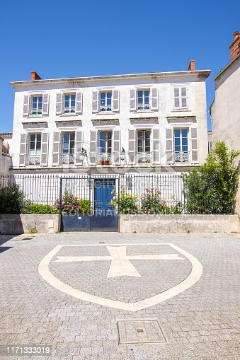 La Rochelle, France - May 13, 2019: Cour de la Commanderie in La Rochelle, ancient location of the Templars headquarters, La Rochelle, France
