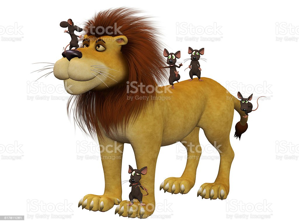 Courage, 3d cartoon mice  with a lion stock photo